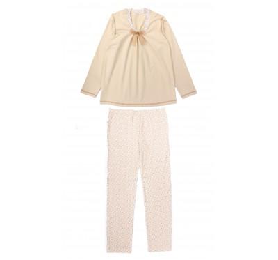 Set Pijama Gravide 2 Piese Crem
