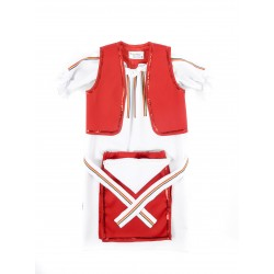 Costum Popular Fete 5 Piese Rosu